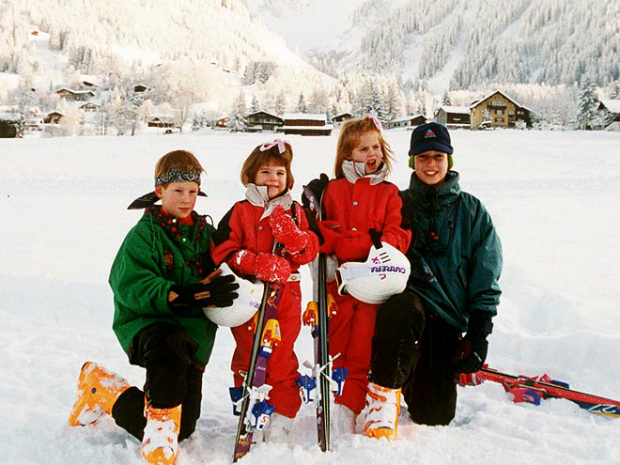 Princess Eugenie + Princess Beatrice + Prince William + Prince Harry Skiing