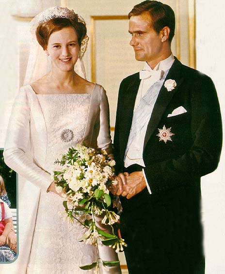 Queen Margrethe II wedding to Henrik