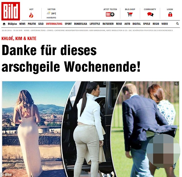 Privacy: The Duchess of Cambridge is at the centre of a new privacy row after Bild in Germany published a picture of her bottom, alongside images of reality TV star Kim Kardashian and her sister Khloe