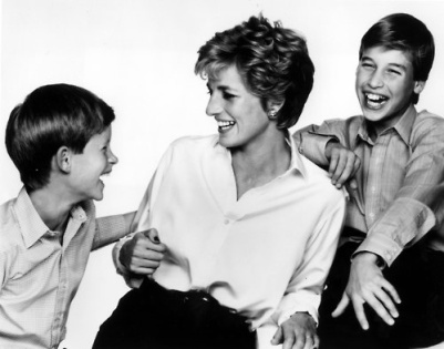 Princess Diana with young Prince Harry and Prince William