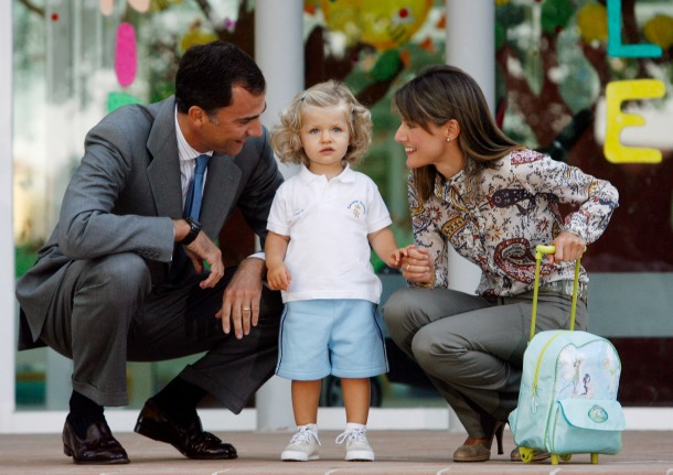 Spain's Crown Prince Felipe, Princess Letizia and their daughter Infanta Leonor pose at nursery in Madrid
