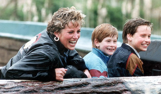 Princess Diana with Princes William and Harry visit amusement park, 1993
